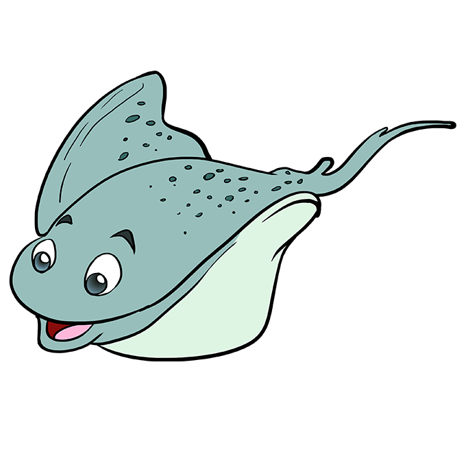 How To Draw A Stingray Really Easy Drawing Tutorial Easy Drawings Animal Drawings Fish Sketch