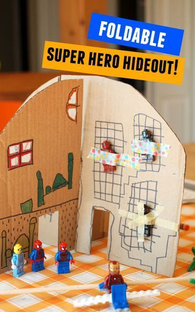 Foldable, Collapsible Cardboard Superhero Hideout! (And our favorite Superhero books!) #superherocrafts