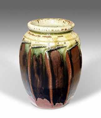 Richard Batterham vase. Batterham (b. 1936) worked at St. Ives with Bernard Leach before setting up his own pottery in Dorset. A classicist whose decoration is always continuous with the form of his pots and grows from out of it, he is one of the most admired potters of his generation.