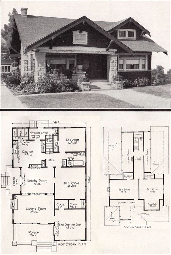 Shrink One Of The Bedrooms Upstairs Then Convert It To A Bathroom And The Two Storage Spaces Could Be California Bungalow Craftsman House Craftsman House Plans