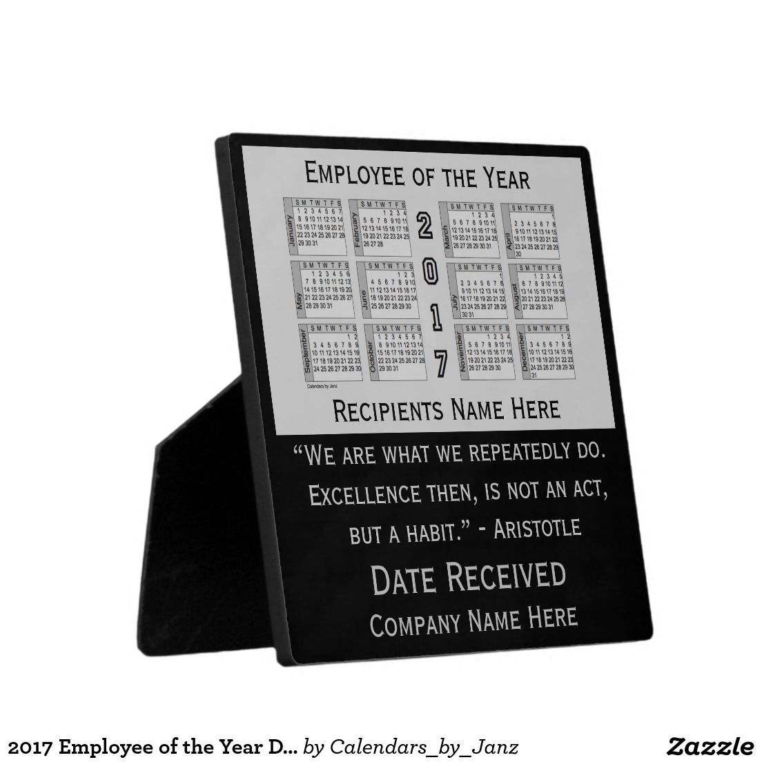 2017 Employee of the Year Desk Calendar by Janz Plaque