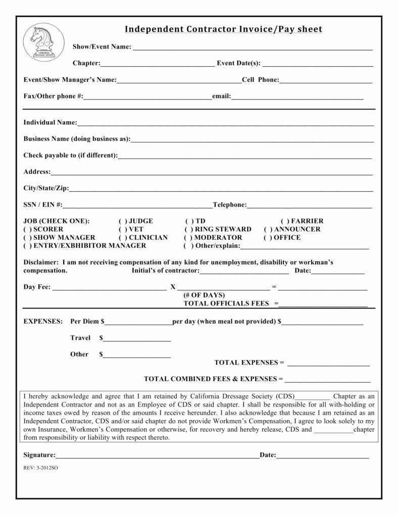 Independent Contractor Invoice Template Best Of 7