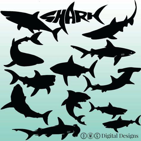12 shark silhouette digital cliparts clipart von omgdigitaldesigns mehr | shark silhouette