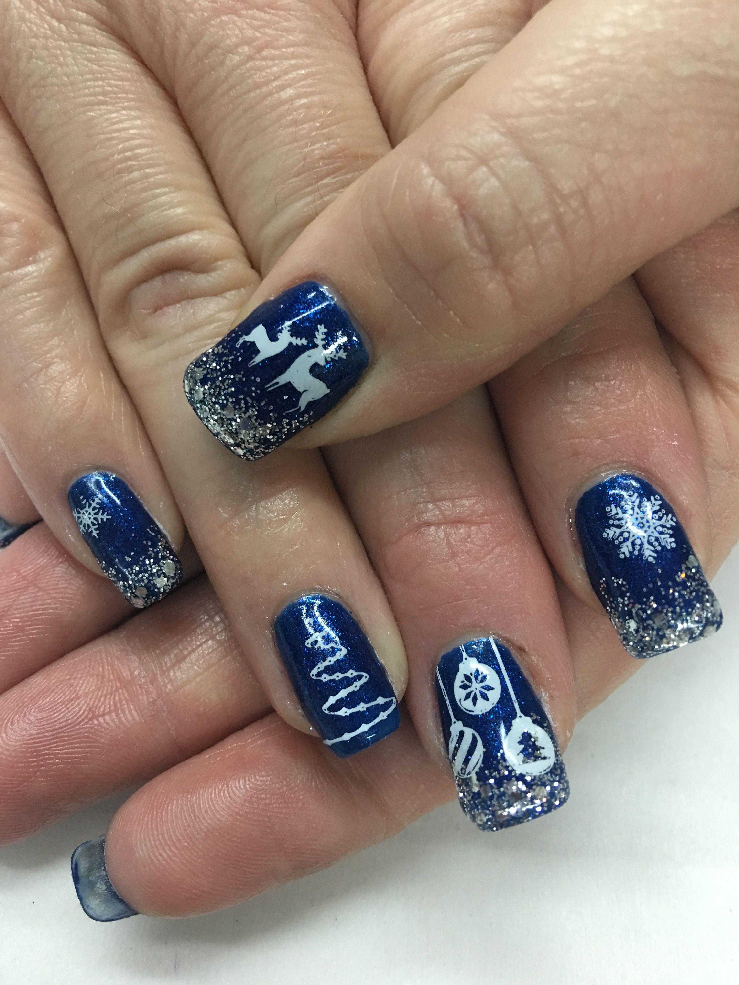 Royal Blue Christmas Ornament Deer Snowflakes Gel Nails Nails Gel Nails Royal Blue Nails