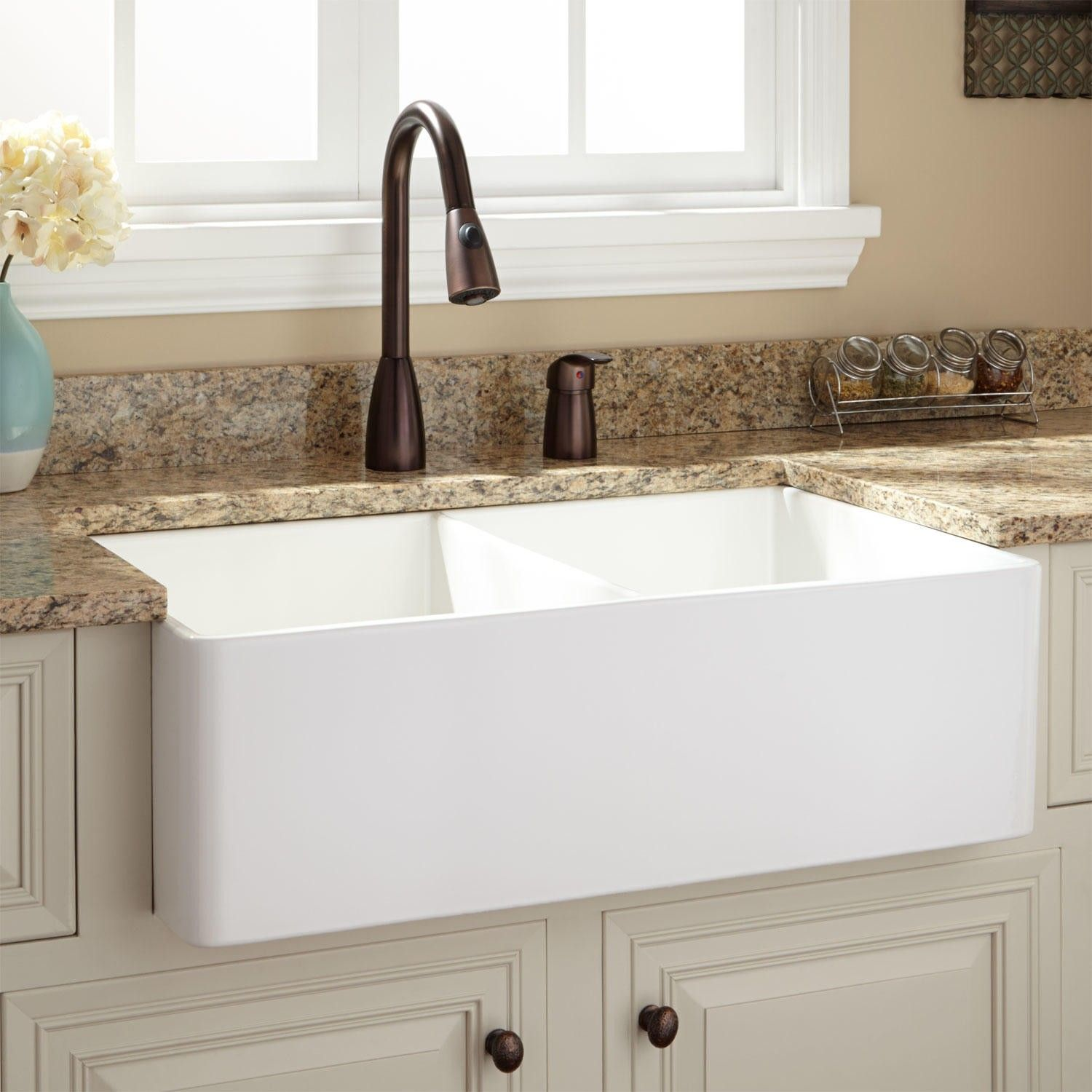 "White Kitchen Farm Sink 33"" baldwin double-bowl fireclay farmhouse sink - smooth apron"