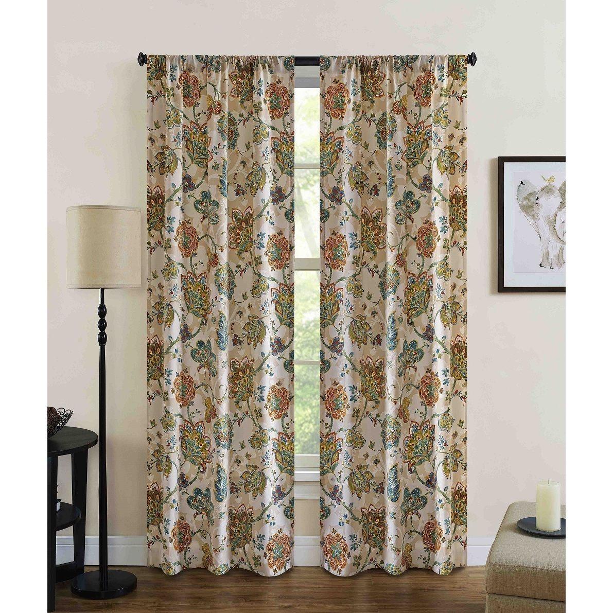 Jubilee Floral Rod Pocket Curtain Panel Pair Panel Curtains Rod
