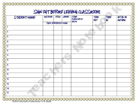 Student Sign Out Sheet  New Tech Classroom Furniture