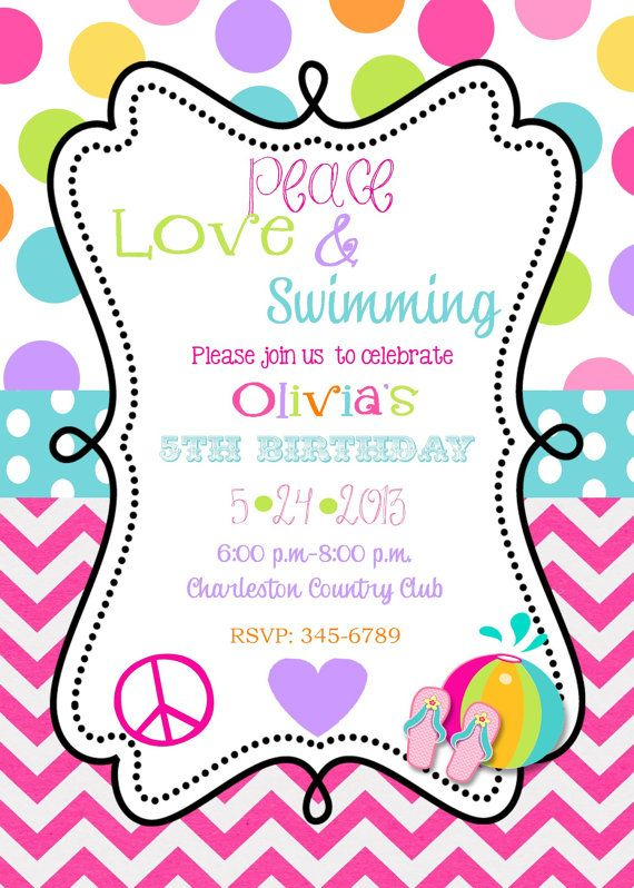 Peace Love Swimming Birthday Party invitations printable or – Pool Party Invitations Printable