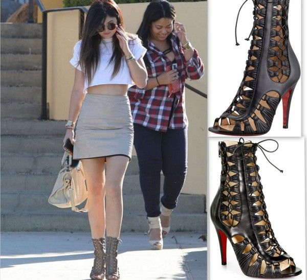 8a64aa01724 Kylie Jenner Christian Louboutin Azimut Leather Lace-Up Ankle Boots ...