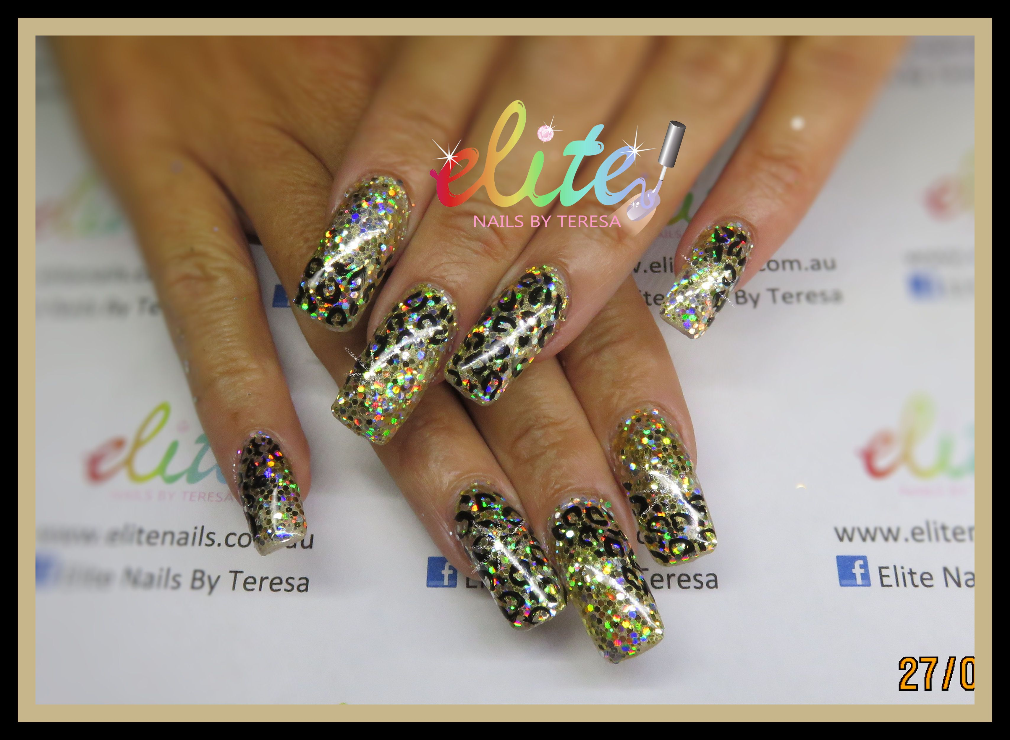 Gold glitter bling holographic hand painted leopard print nails nail ...