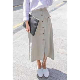 Buy 'PPGIRL – Button-Detail Linen Long Skirt ' with Free International Shipping at YesStyle.com. Browse and shop for thousands of Asian fashion items from South Korea and more!