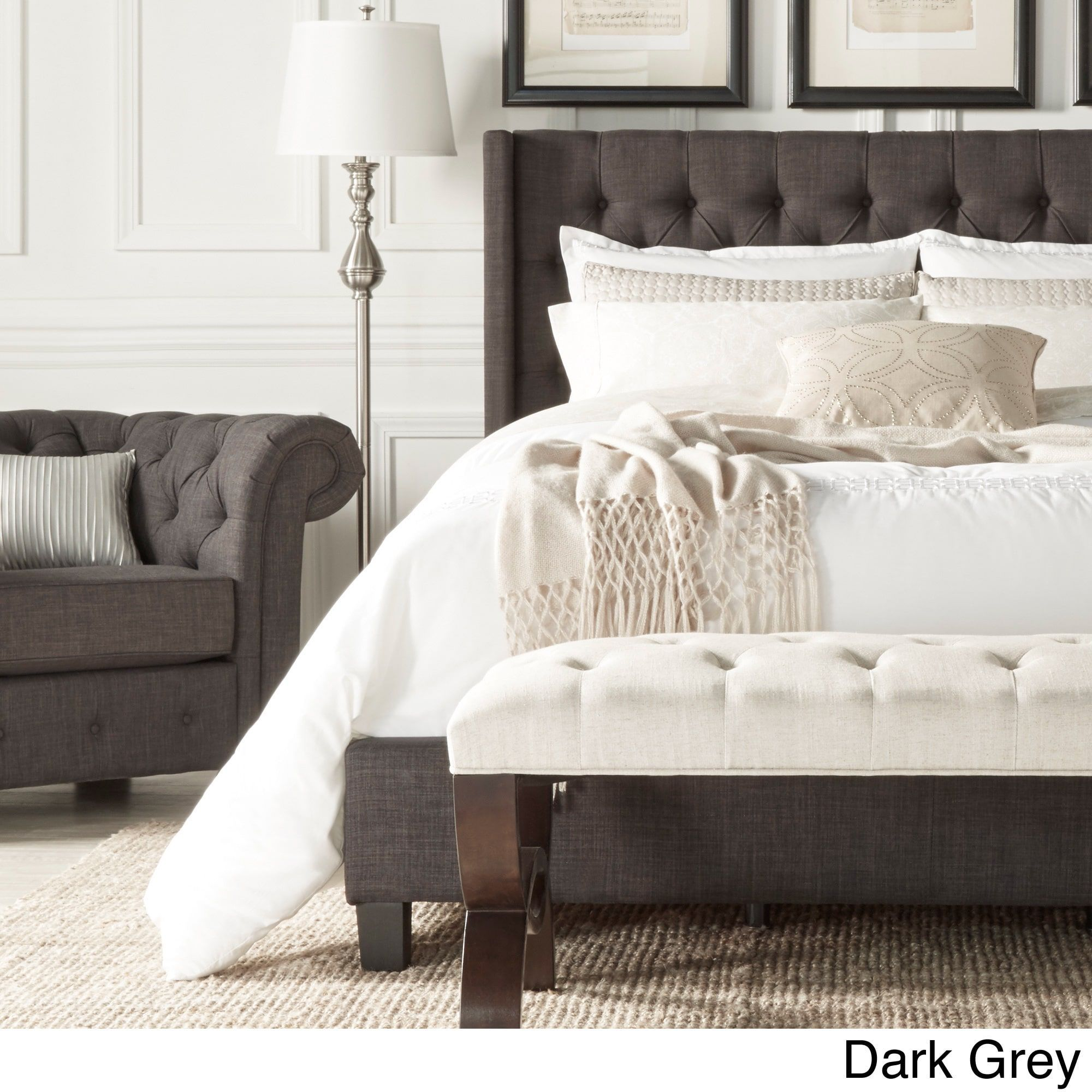 Inspire Q Naples Beige Linen Wingback Button Tufted Upholstered Bed  (Platform Bed- Dark Grey