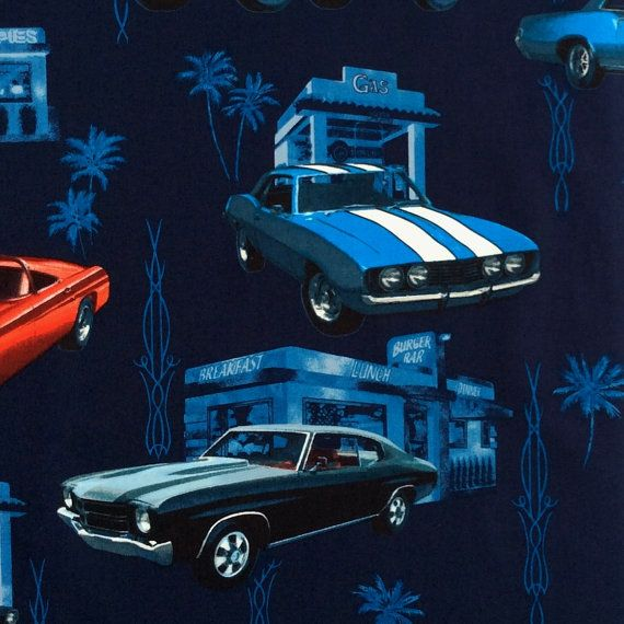 Fabric, Muscle Car Diner, Classic Cars on Navy Blue, Hoffman California Fabric, By the Yard