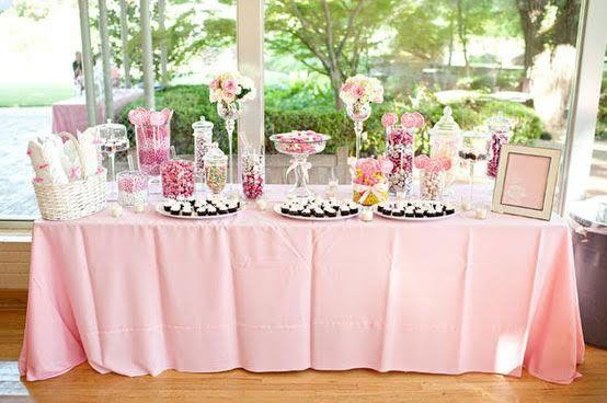 Bar a bonbons mariage rose bonbon rose poudre et argent - Deco rose poudre ...