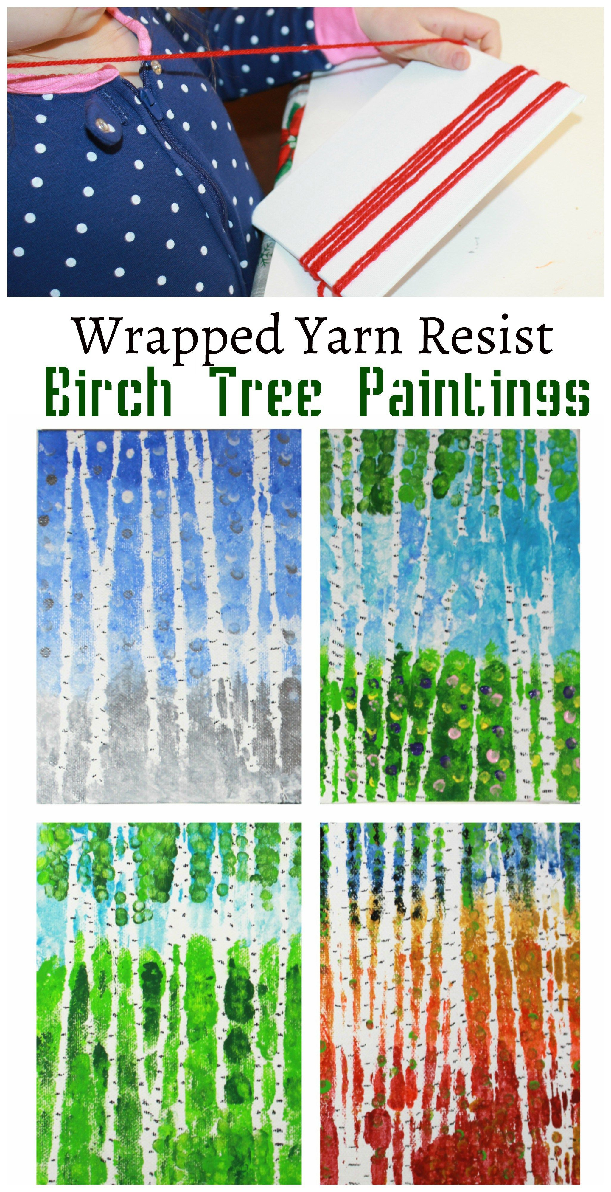 Wrapped Yarn Resist Birch Tree Paintings – The Pin