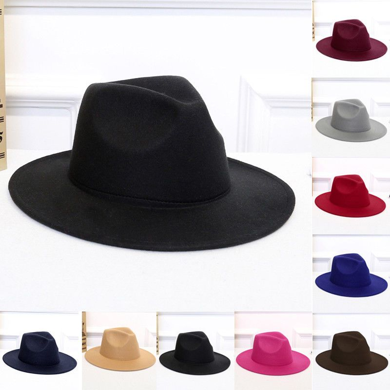53c5fd88a9d71 Wool Felt Fedora Floppy Cloche Wide Brim Panama Hat Men Jazz Cap ...