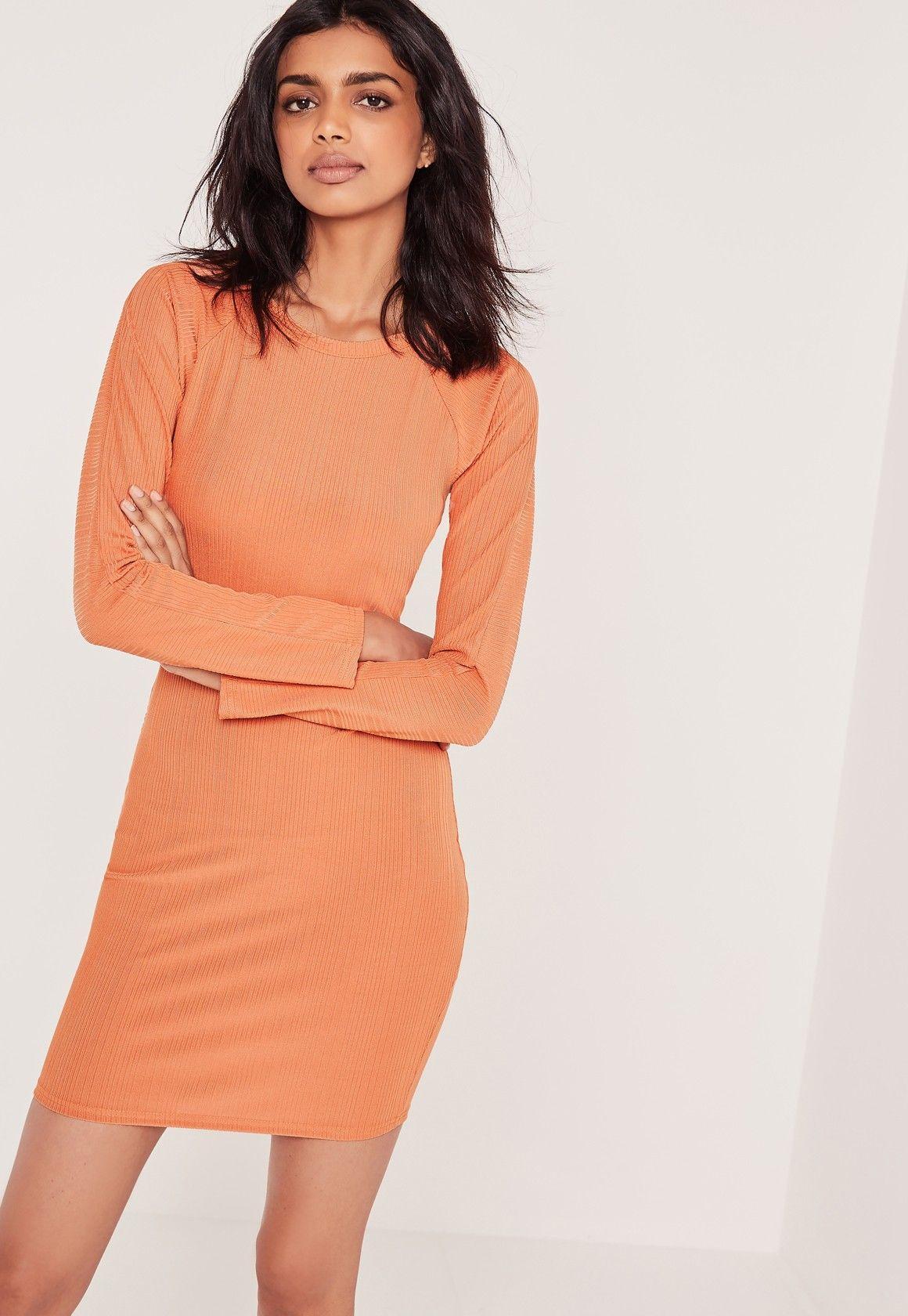 Rib Cross Back Bodycon Mini Dress Orange - Missguided