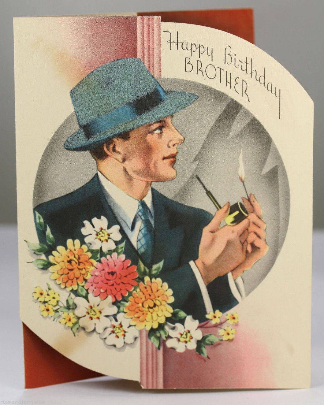 Vtg Greeting Card Brother Happy Birthday Male Men Pipe Smoking – Vintage Birthday Cards for Men