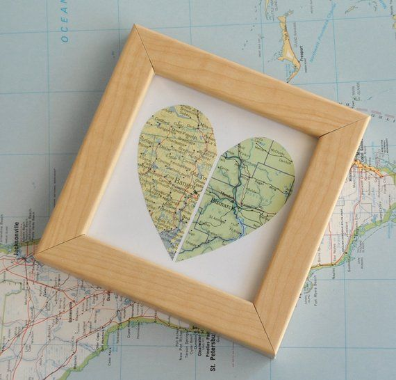 Personalized Mother's Day Gift for Mom Gift Long Distance Relationship Personalized Moving Away Gift Map Heart Framed