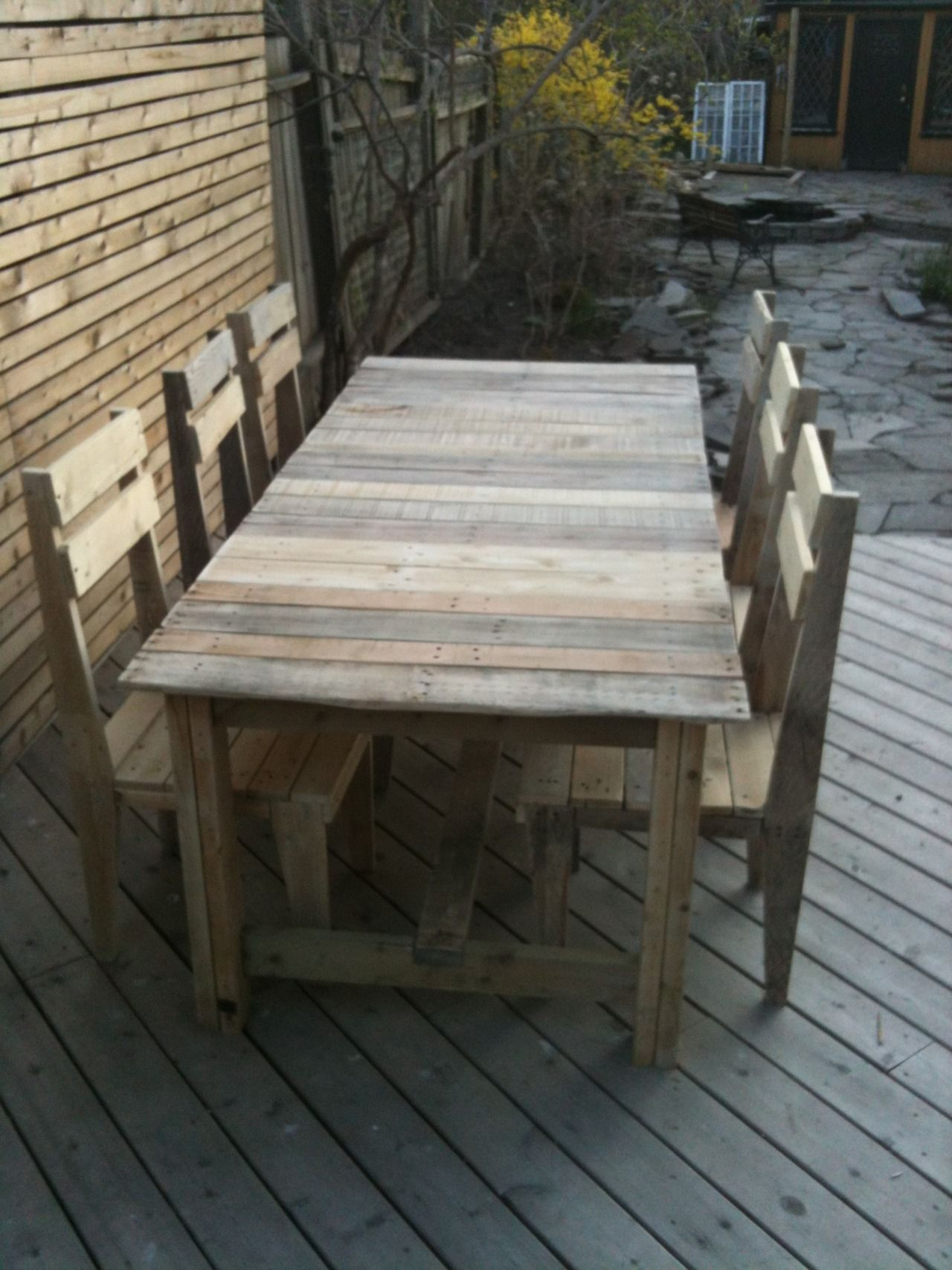 Backyard Dining Pallet Table: After completing the chairs, I moved on to the table. This was pretty easy to make, as I found some excellent drawings and step by step instructions on how to build it at...