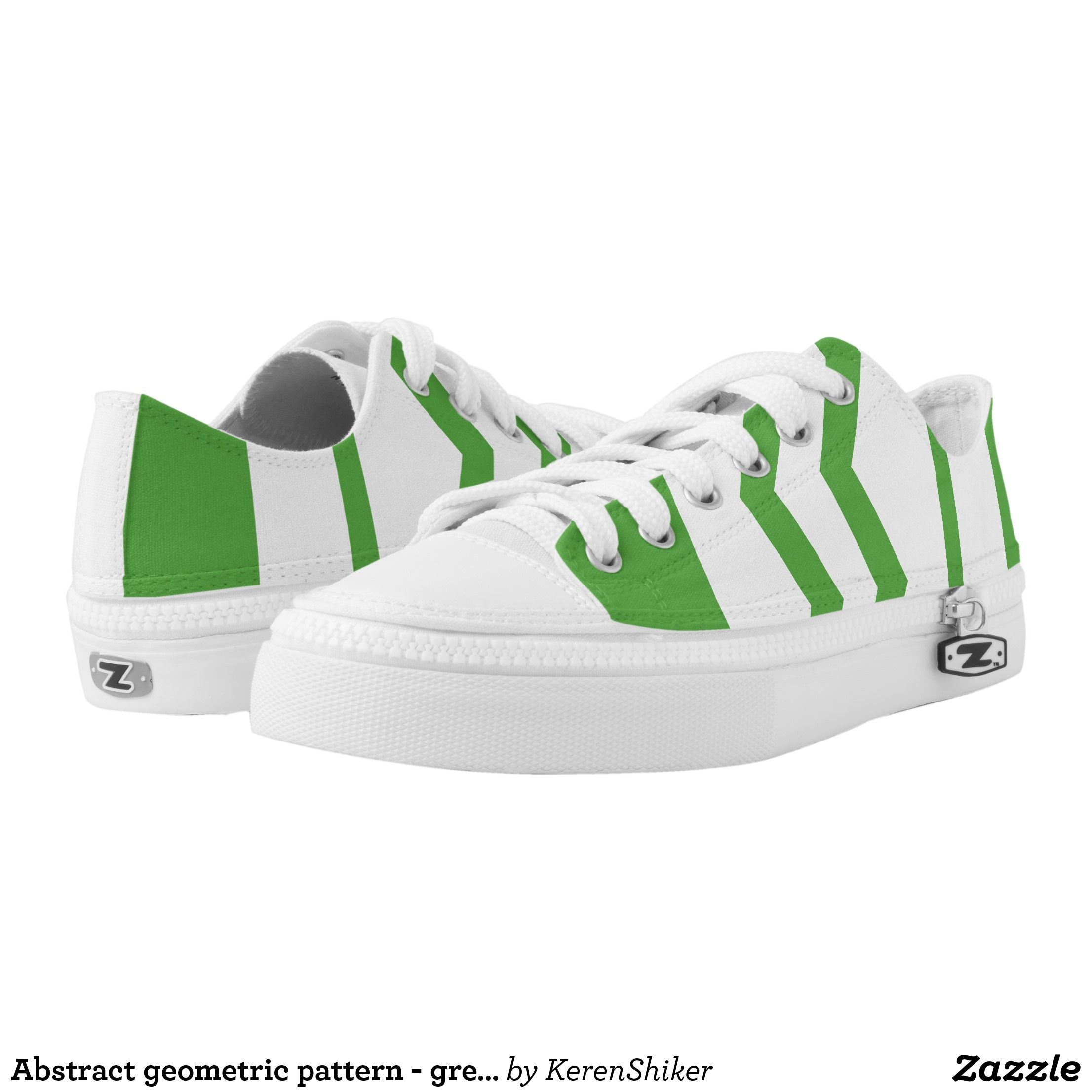 Abstract Geometric Pattern Green And White Low Top Sneakers Canvas Top Rubber Sole Athletic Shoes By Talent Canvas Slip On Shoes Sneakers Fashion Sneakers