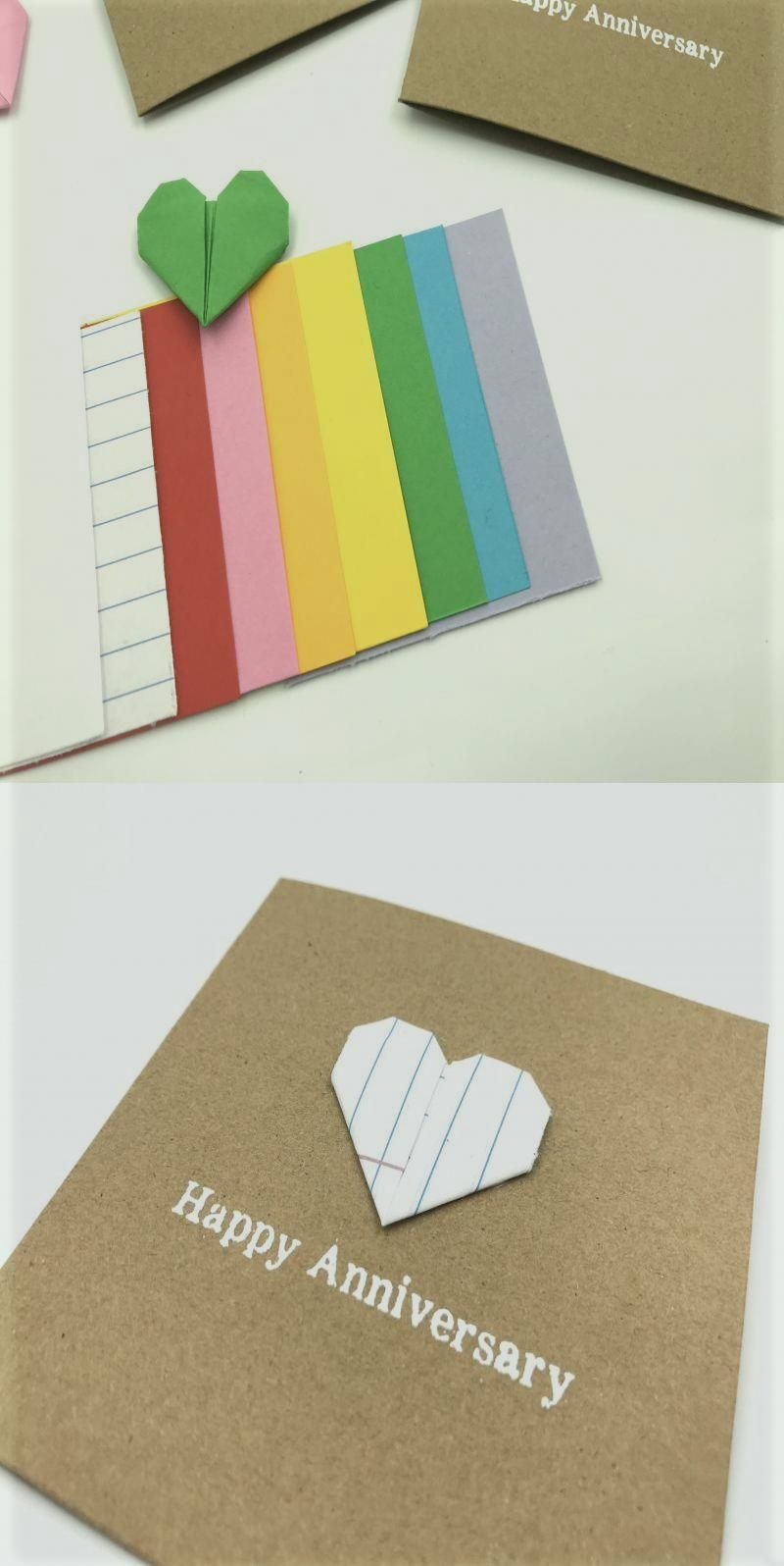 Happy 1st Anniversary Card Origami Paper Heart First Lined School