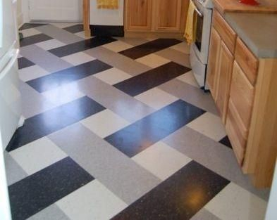 Flooring Idea Vct Vinyl Tile In A Woven Pattern We D Use Happier Colors White Turquoise And Red Yellow Kitchen Flooring Flooring Flooring Inspiration