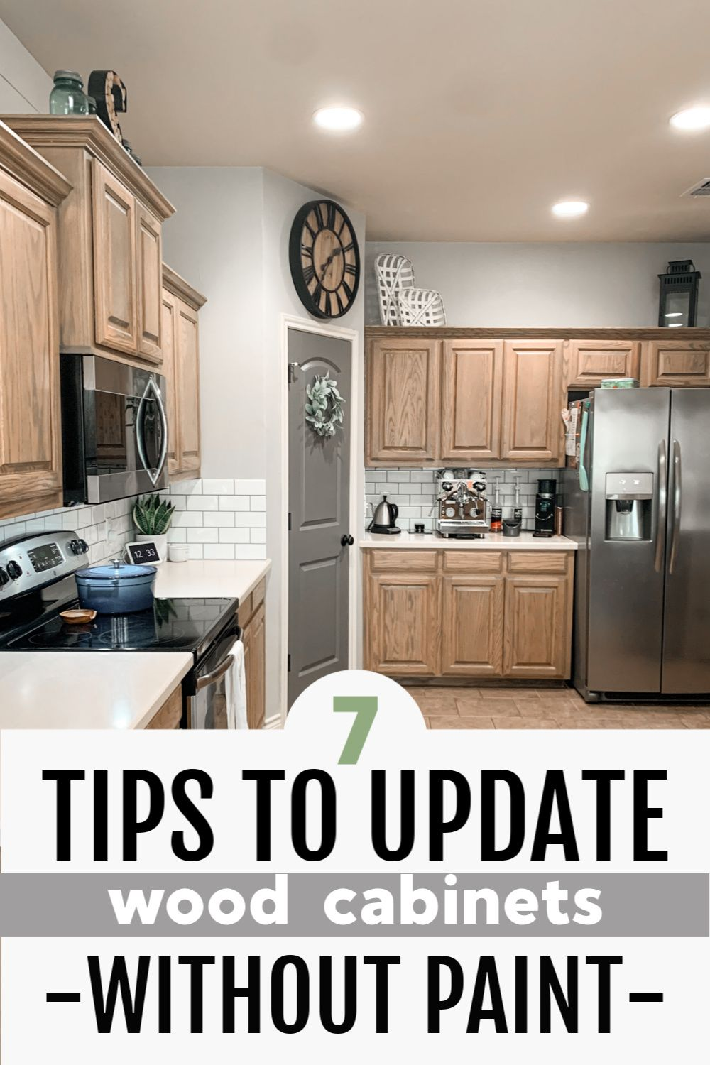 How To Update Wood Cabinets No Painting In 2020 Cheap Kitchen Makeover Budget Kitchen Makeover Diy Kitchen Cabinets Makeover