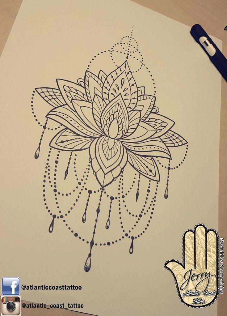 Schöne Lotus Mandala Tattoo Idee Design für einen Oberschenkel Arm von Dzeraldas Jerry Ku …