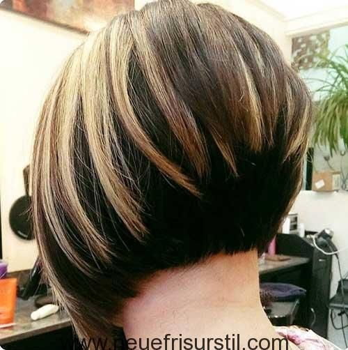 Kurze Braune Haare Mit Blonden Highlights Frisur Haar Ideen Bob