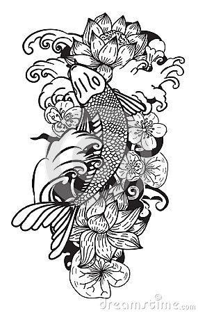 Black And White Koi Fish Vector Hand Drawn Japanese Tattoo Design Japanese Carp Line Drawing Coloring B Japanese Tattoo Black Line Tattoo Tattoo Japanese Style