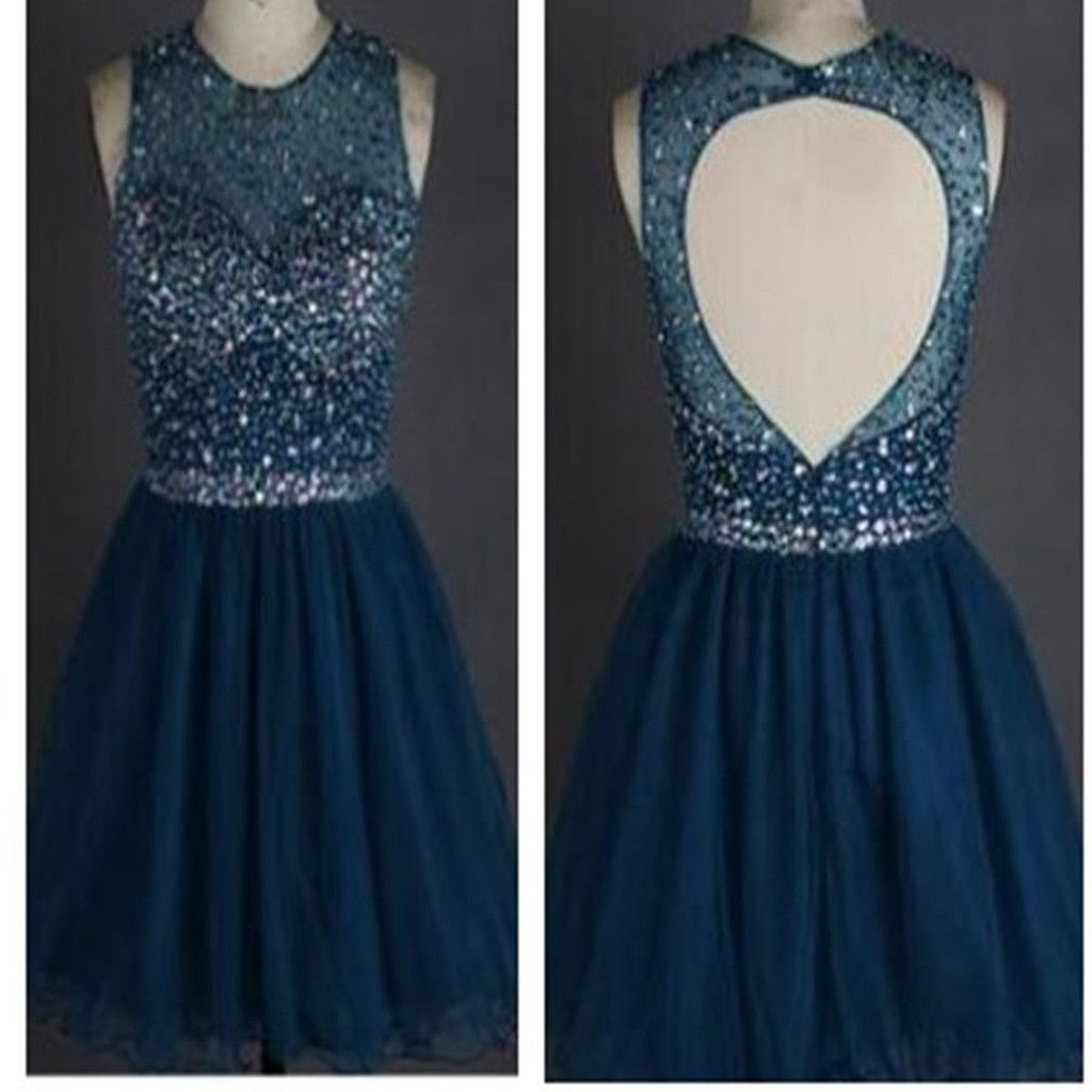 Popular sparkly open back freshman homecoming prom gowns dress the