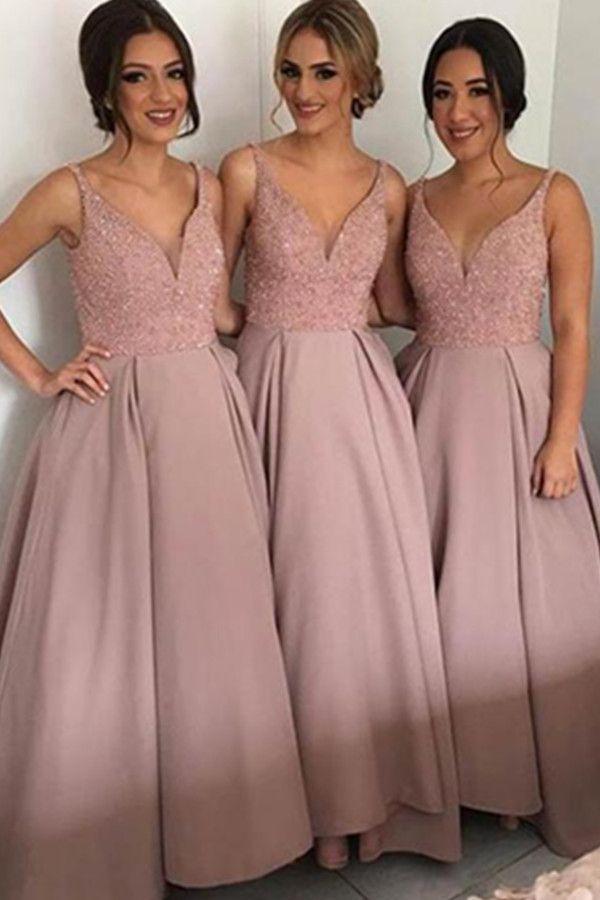 Pink V-neck Long A-line Simple Cheap Bridesmaid Dresses,Bridesmaid ...