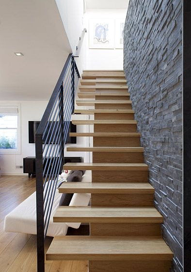 Modern Cantilevered Stairs Off A Textured Wall Modern Stairs | Stairs Side Wall Design | Modern | Stone | Pop | Wallpaper | Stair Pattern
