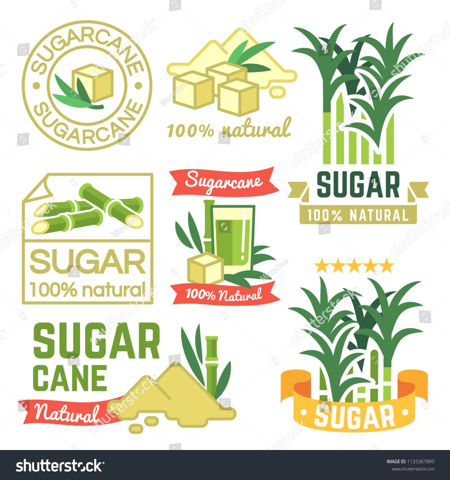 Sugar Production Labels Sugarcane Farm Badges And Emblems Vector Set Illustration Of Cane Sugar Sweet Harvest Plant Spo Sugarcane Fruit Logo Mandala Design