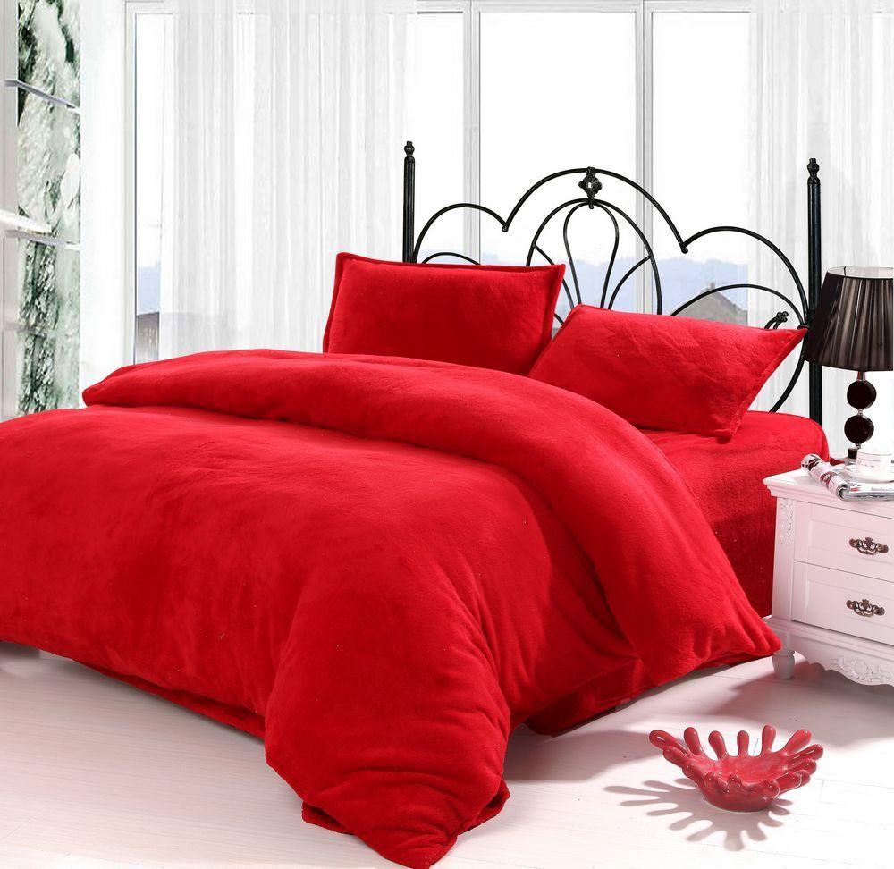 Charmant Textile Super Soft Coral Fleece Comfortable Piece Set Solid Color Plain Bright  Red $92.46