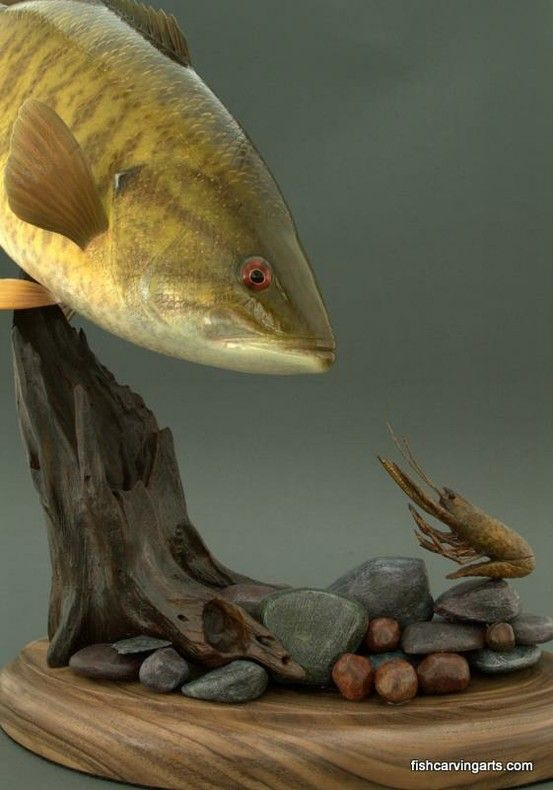 Smallmouth bass and crawfish wood carving by chadturner