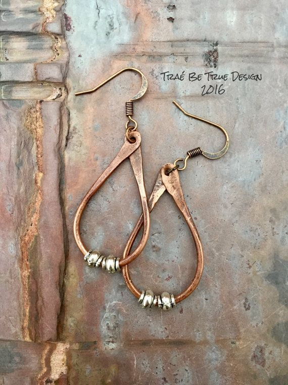 Copper Hoop Earrings Handmade by Traebetruedesign on Etsy