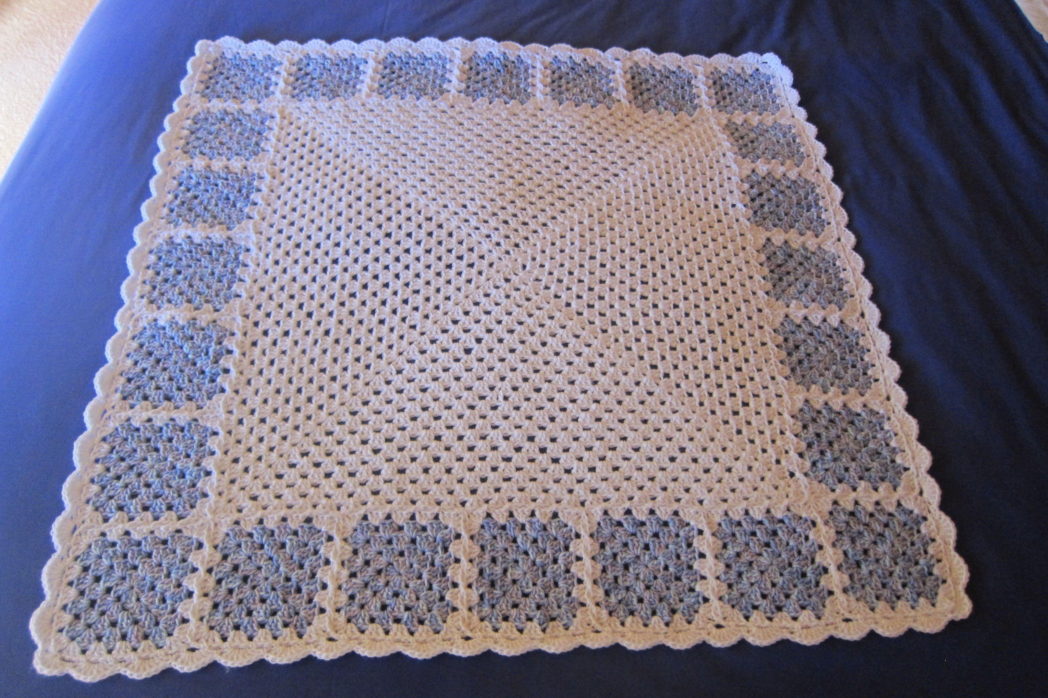 9f3495eb4686 Crocheted baby blanket in 8ply(Aus) yarn.