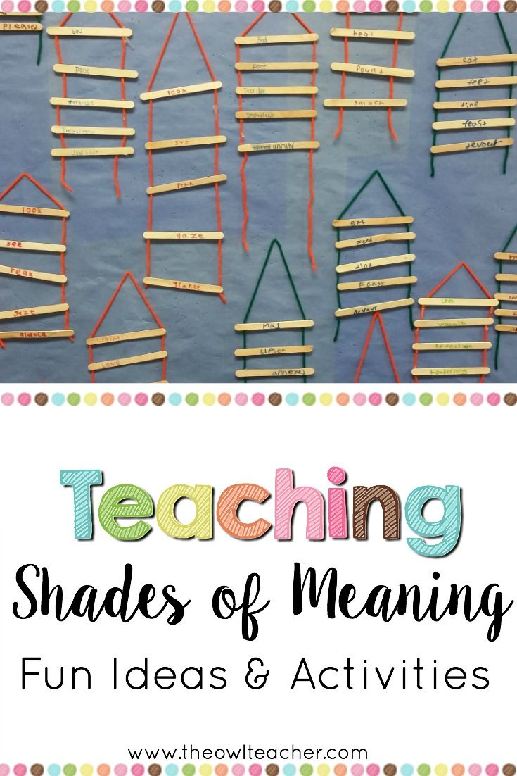 Shades Of What Shades Of Meaning Shades Of Meaning Elementary Writing Upper Elementary Reading