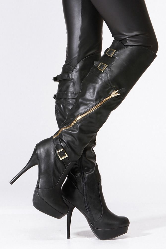 Bamboo Black Gold Accent Knee High Boots | Imelda's Shoe Closet ...