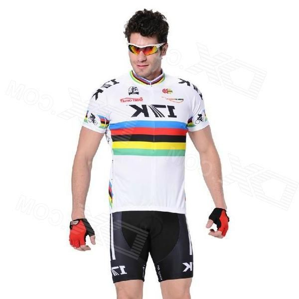 Rusuoo K01007 Bicycle Cycling Jersey + Bib Shorts Set -  White + Black (Size-XXL/180-185cm)
