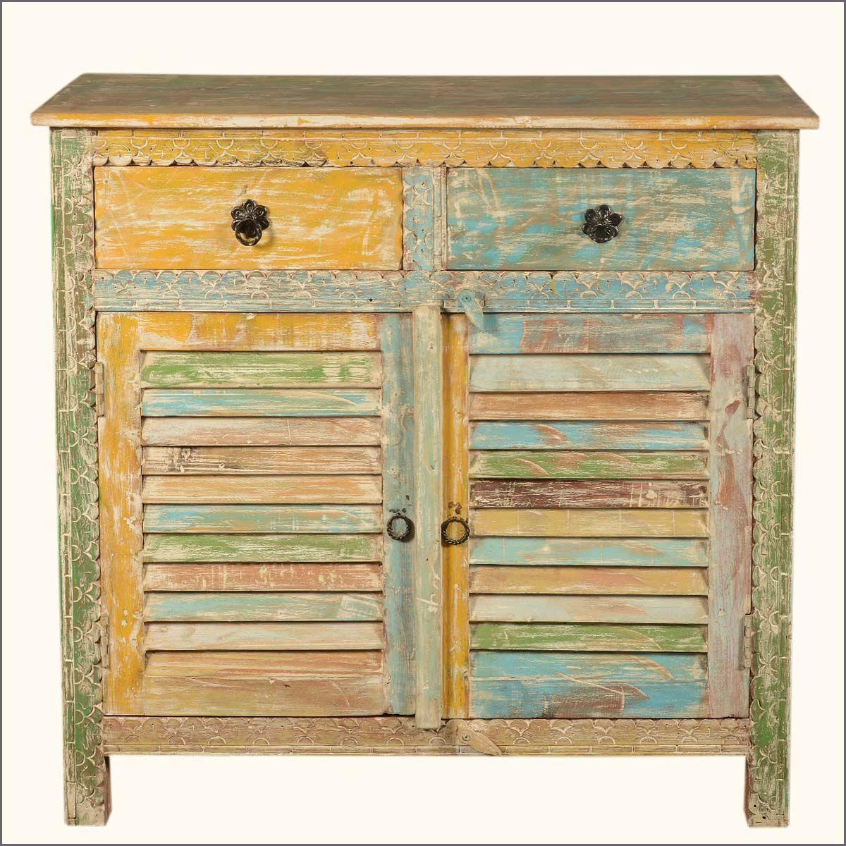 Attica Rustic Reclaimed Wood Shutter Door 9 Drawer Sideboard ...