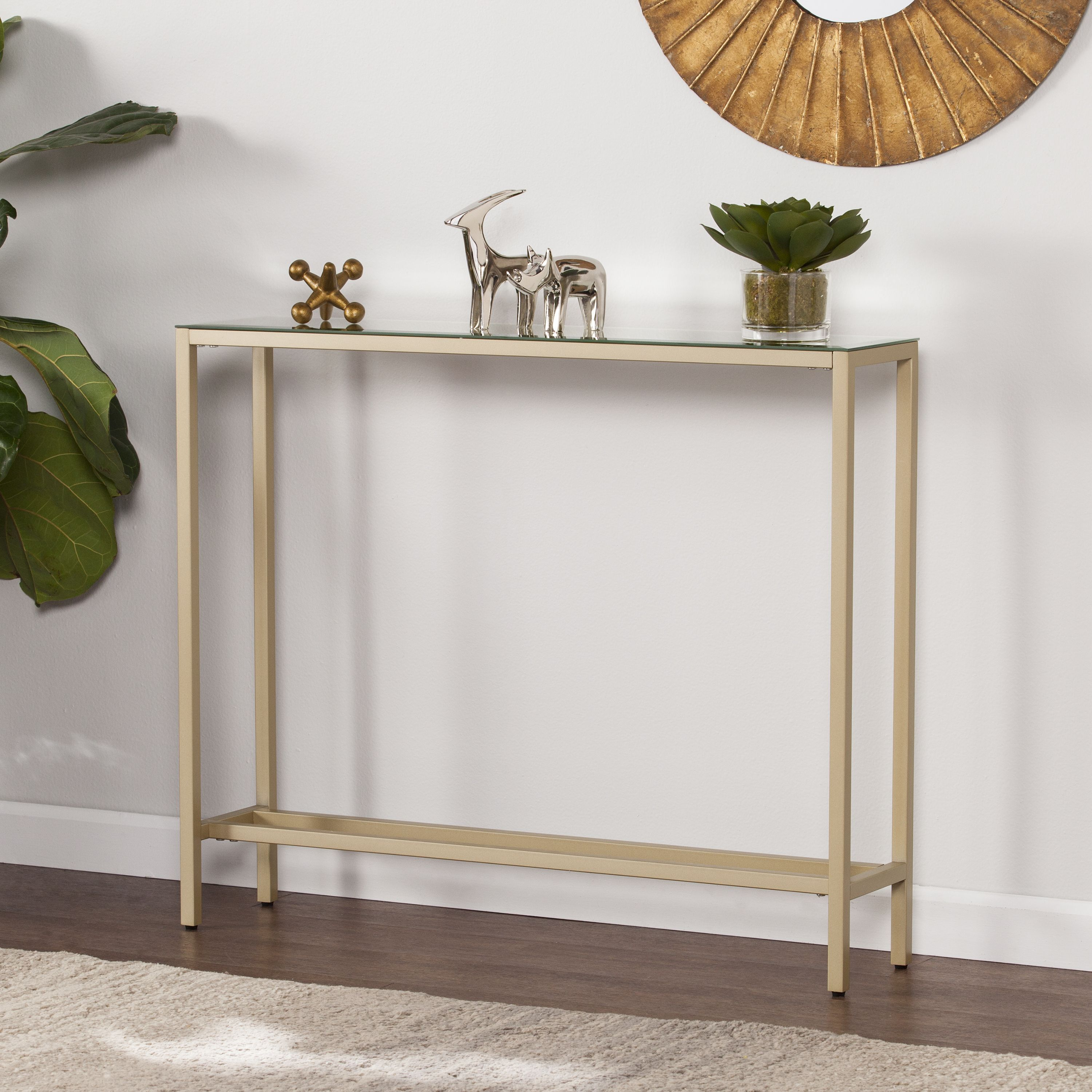 Lowest Price On Southern Enterprises Darrin Gold Narrow Console Table With Mirrored Top Cm9297 Narrow Console Table Small Console Tables Mirrored Console Table
