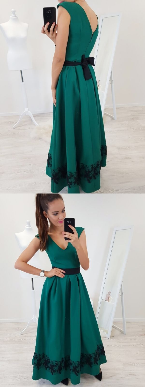 Elegant dark green stain formal evening dresses for women simple