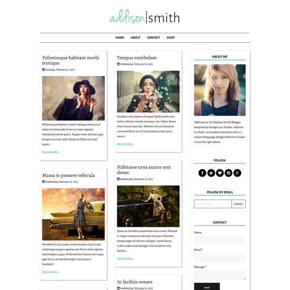 Premade Blogger Template Blog Design - Responsive and Customizable ...