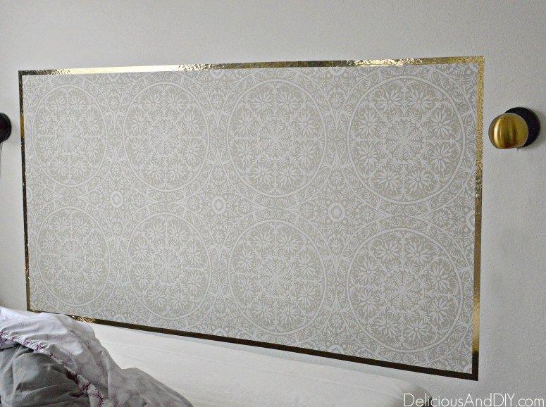 Diy Removable Wallpaper Headboard Delicious And Diy Wallpaper Headboard Mirror Headboard Diy Diy Wallpaper Headboard