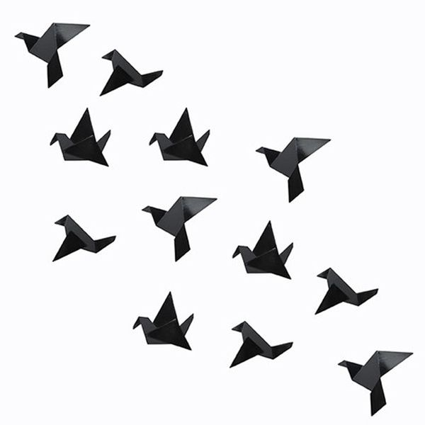 Origami Birds Black And White
