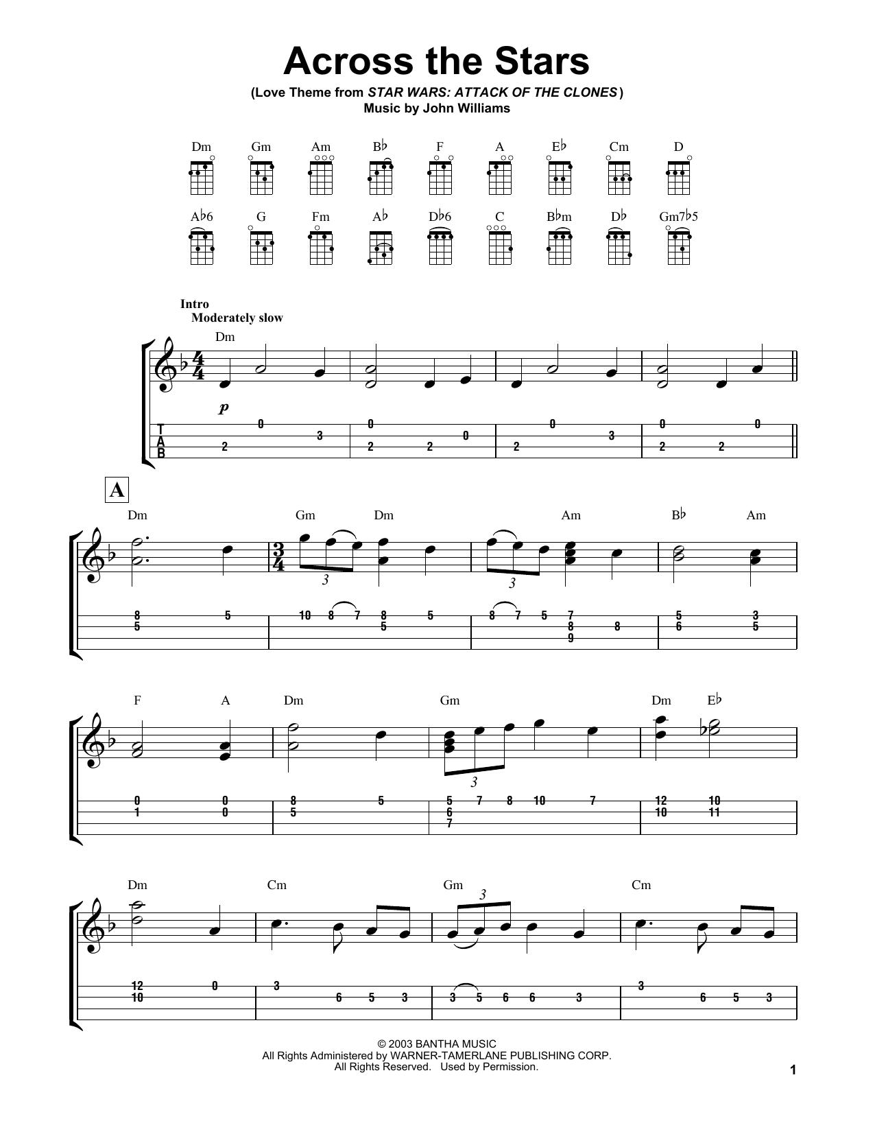 John Williams Across The Stars Guitar Sheet Music Guitar Tabs Piano Sheet Music