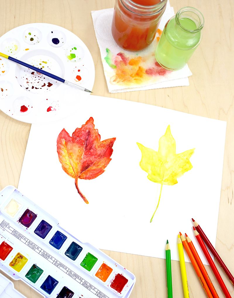 Watercolor Fall Leaves Tutorial School Art Projects Crafts